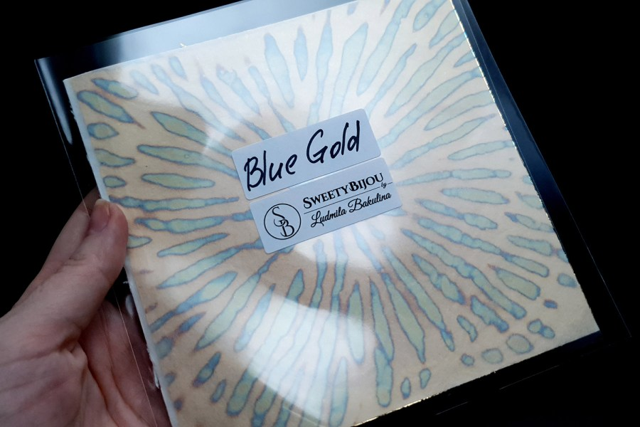 Blue-Golden Copper Metal Leafs (10pcs 14x14cm) 3