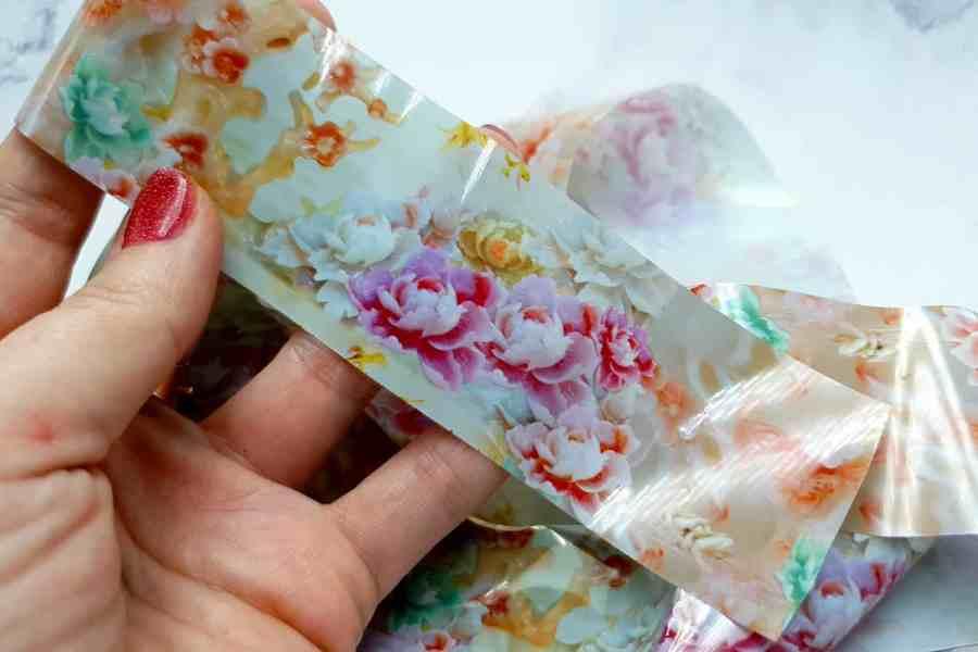 Peonies Flowers Pattern - Transfer Foil pattern 1 pc - 4x100cm 4