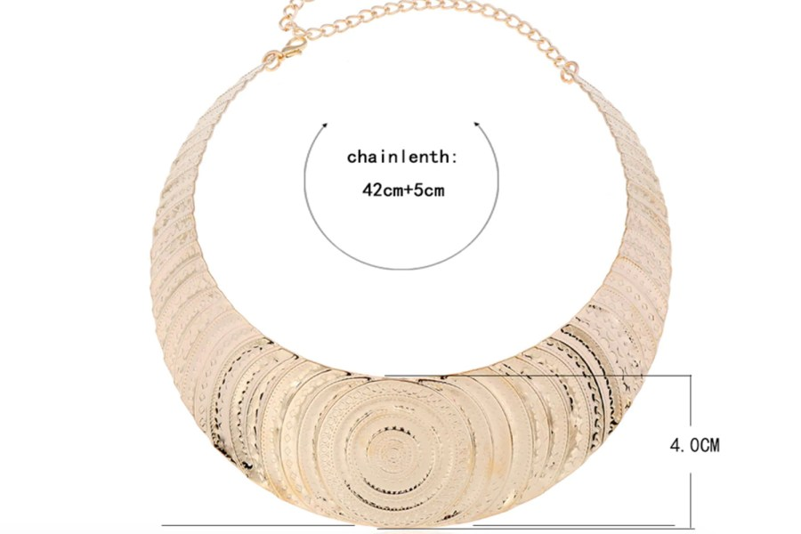 "Necklace Metal Base ""Circles"" Pattern - Gold, 14cm 8"