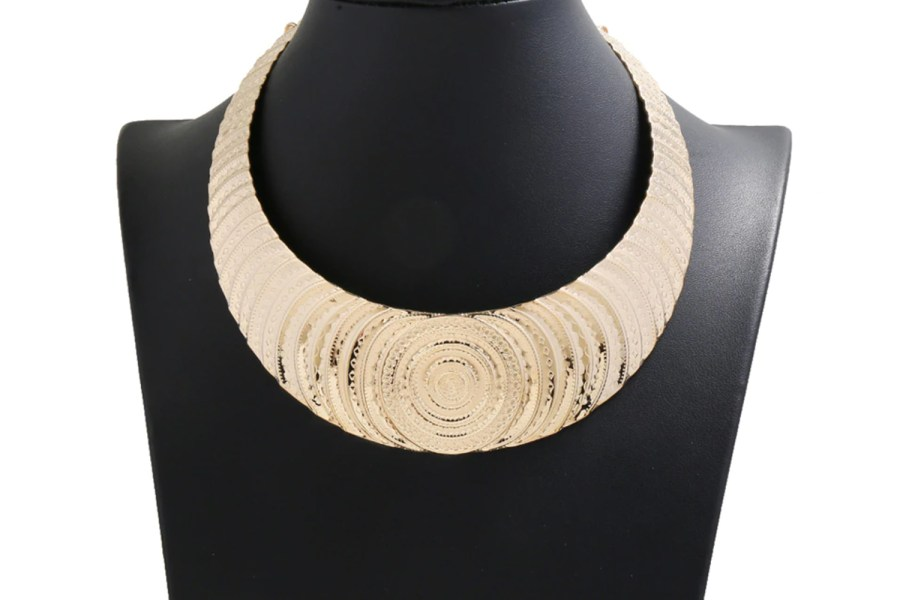 "Necklace Metal Base ""Circles"" Pattern - Gold, 14cm 9"