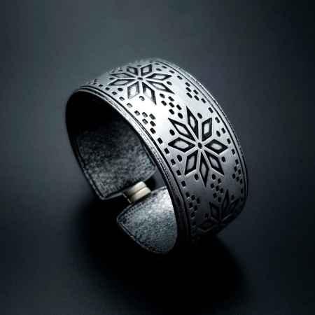 """Silver Winter"" Polymer clay bracelet"