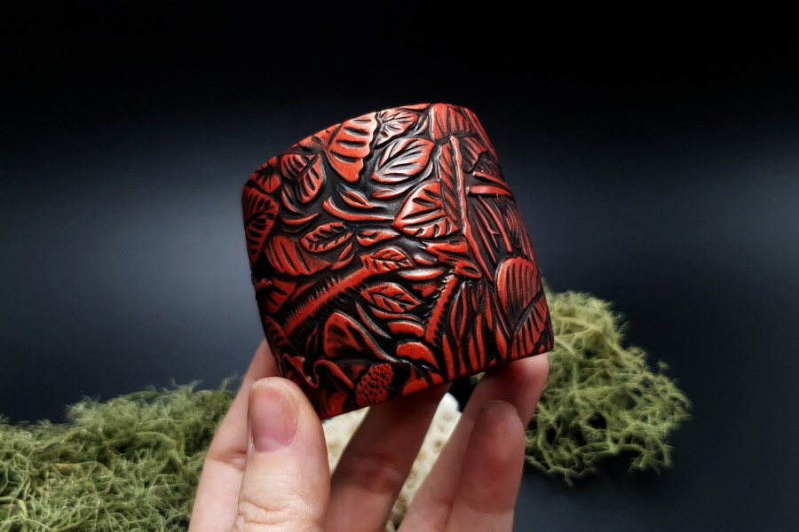 "Bracelet ""Red Wood"" Polymer clay 5"