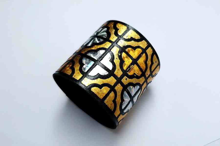 """""""Gold"""" Polymer clay bracelet 1"""
