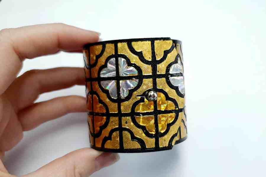 """""""Gold"""" Polymer clay bracelet 12"""
