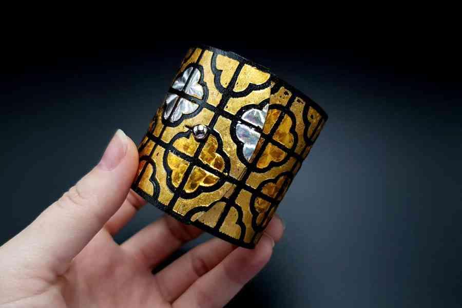 """""""Gold"""" Polymer clay bracelet 6"""