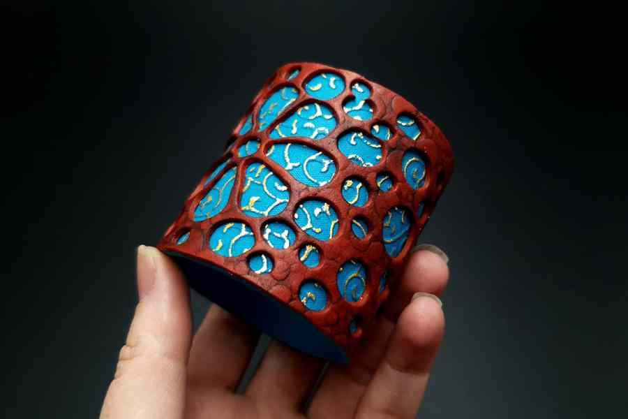 """Blue Flower"" Polymer clay Bracelet 1"