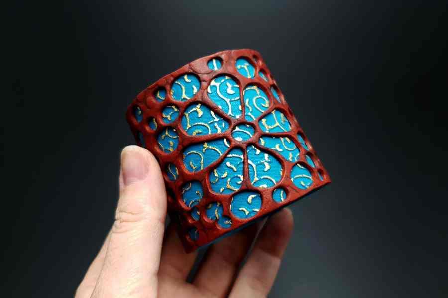 """Blue Flower"" Polymer clay Bracelet 6"