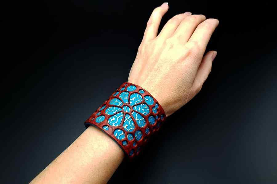 """Blue Flower"" Polymer clay Bracelet 8"