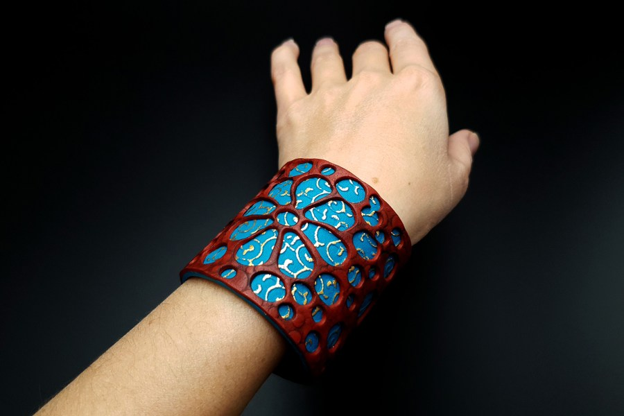 """Blue Flower"" Polymer clay Bracelet 9"