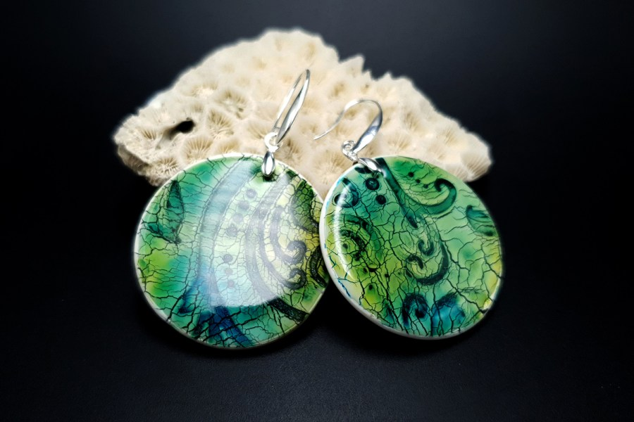 """""""Old Ceramic"""" Polymer clay earrings 8"""
