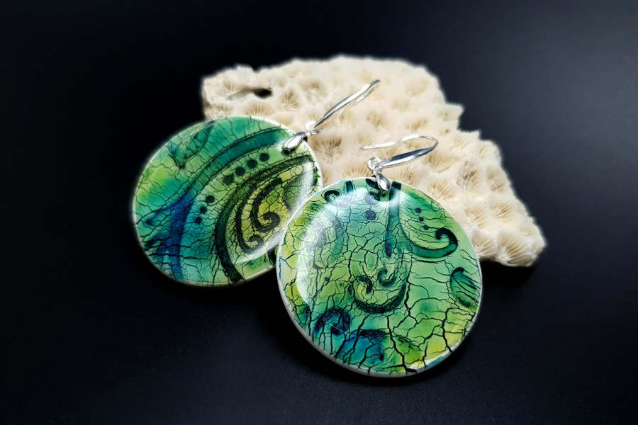 """""""Old Ceramic"""" Polymer clay earrings 1"""