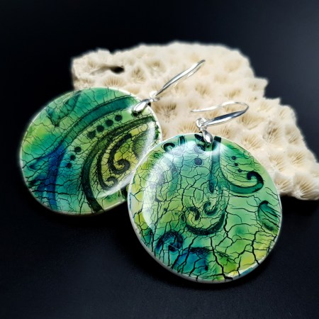 """""""Old Ceramic"""" Polymer clay earrings"""