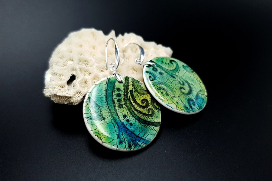 """""""Old Ceramic"""" Polymer clay earrings 2"""