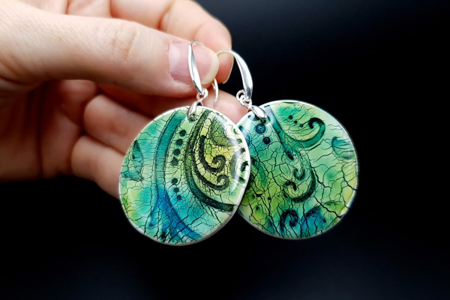 """""""Old Ceramic"""" Polymer clay earrings 5"""
