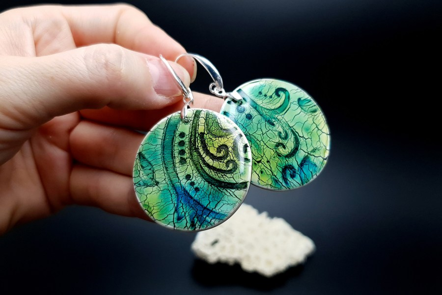 """""""Old Ceramic"""" Polymer clay earrings 7"""