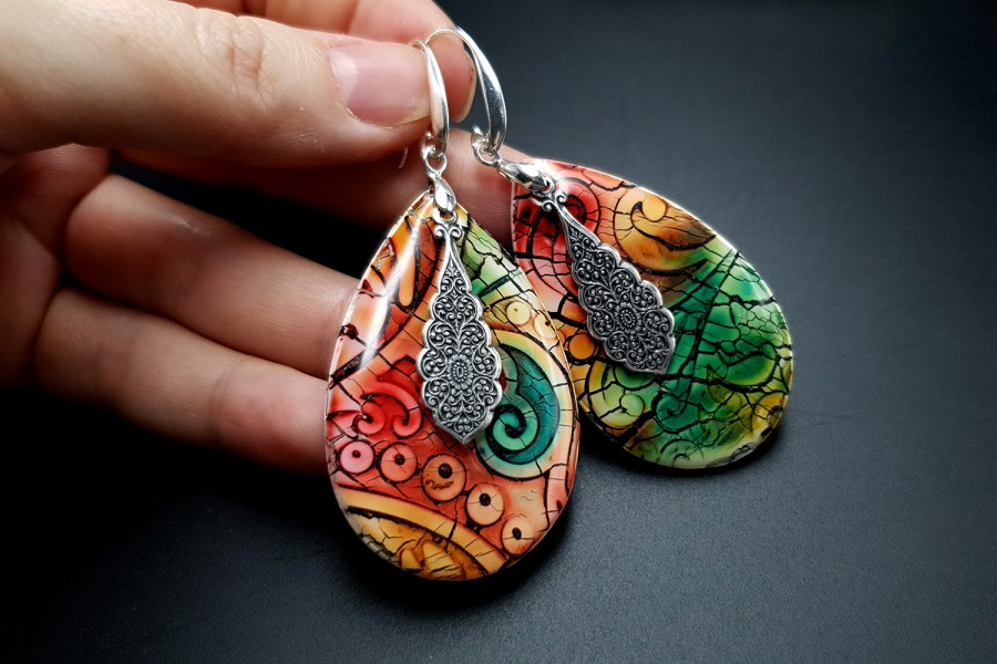 """Fantazy Ceramic"" Polymer clay Earrings 6"