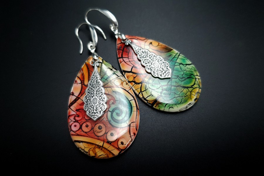 """Fantazy Ceramic"" Polymer clay Earrings 9"