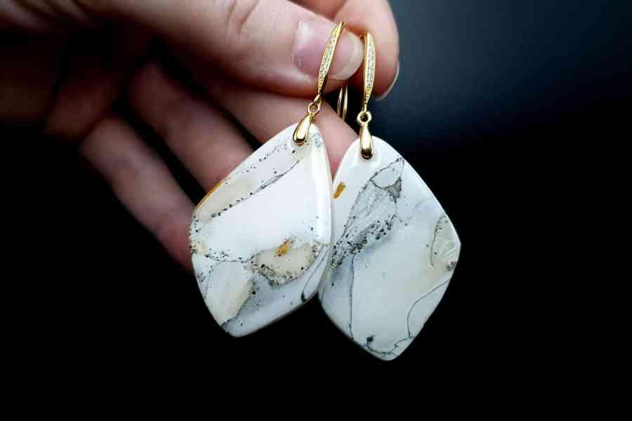 """""""Marble"""" Faux marble earrings 4"""