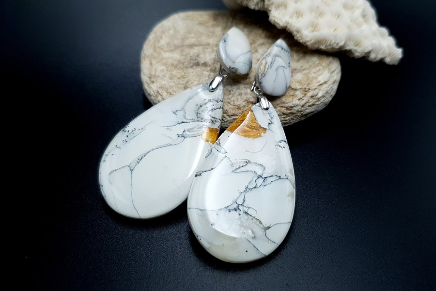 """White Marble"" Faux marble earrings 9"
