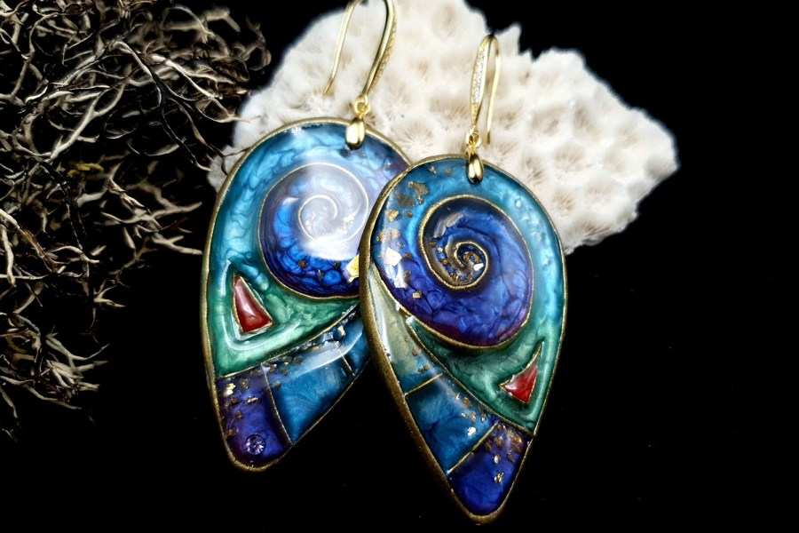 """Magic Swirls"" polymer clay earrings 2"
