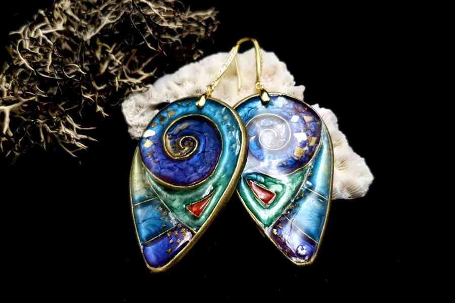 """Magic Swirls"" polymer clay earrings 3"