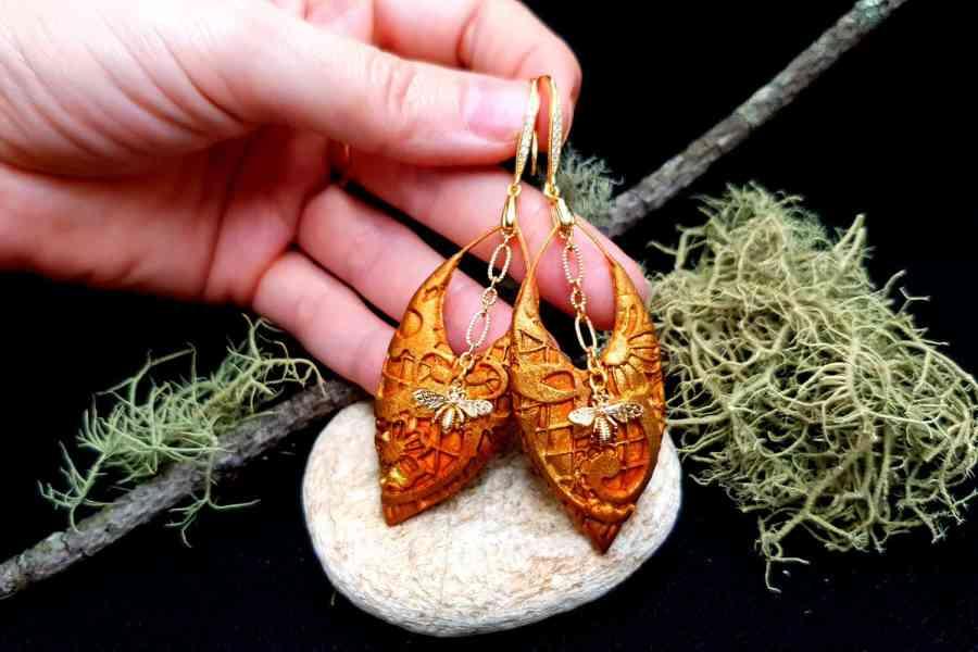 """Earrings """"Eldorado"""" with Bees 6"""