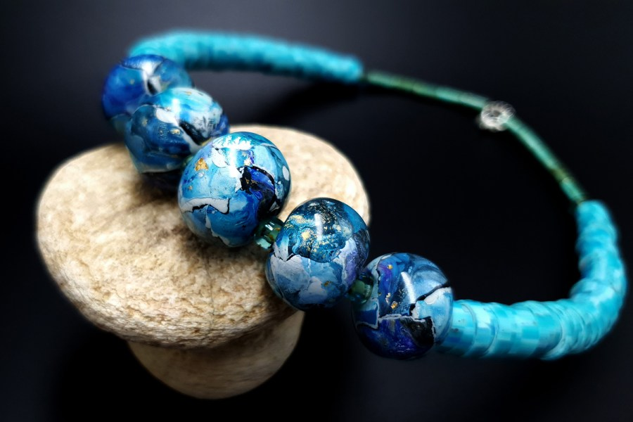Necklace with blue beads