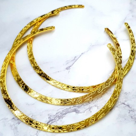 3 Pieces Of Golden Metal Necklaces For Pendant