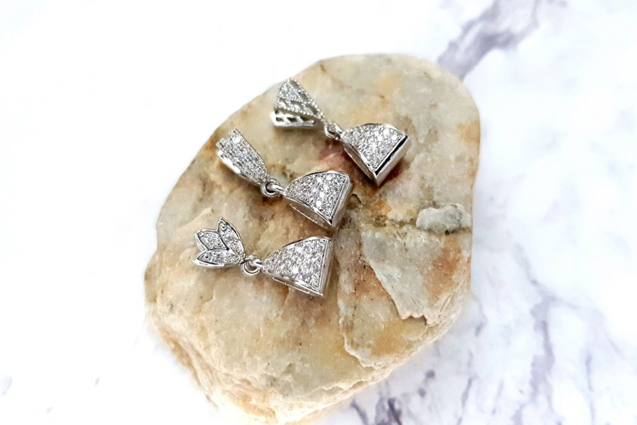 3 Pcs Set Of High Quality Silver Crystals Pendant Pinch Bail 3