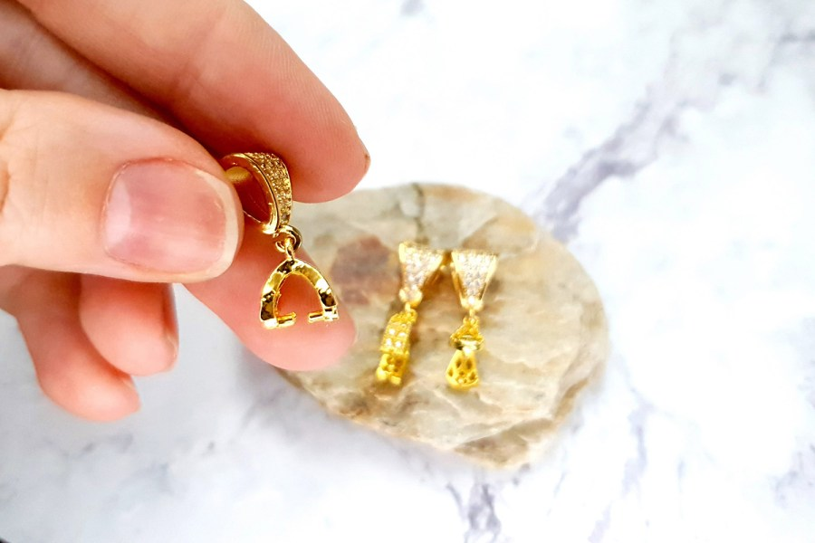 3 Pcs Set Of High Quality Golden Crystals Pendant Pinch Bail 5