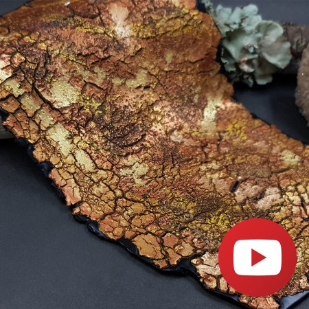 Golden crackle veneer with paints on polymer clay