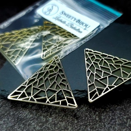 Pair of golden color triangle shape charms for earrings