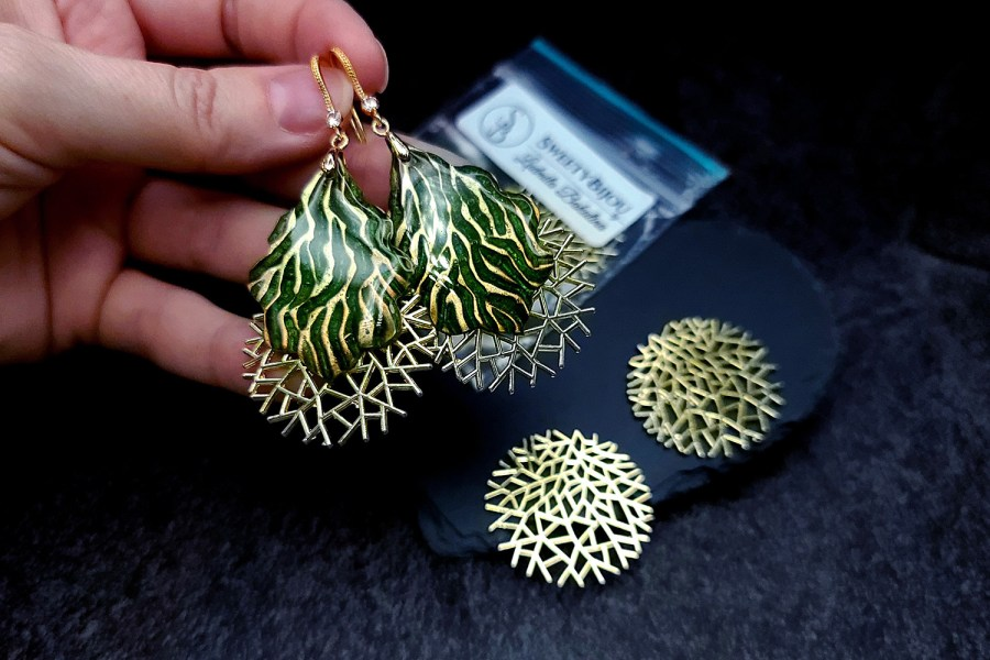 Pair of unique golden color coral bushes charms for earrings 6