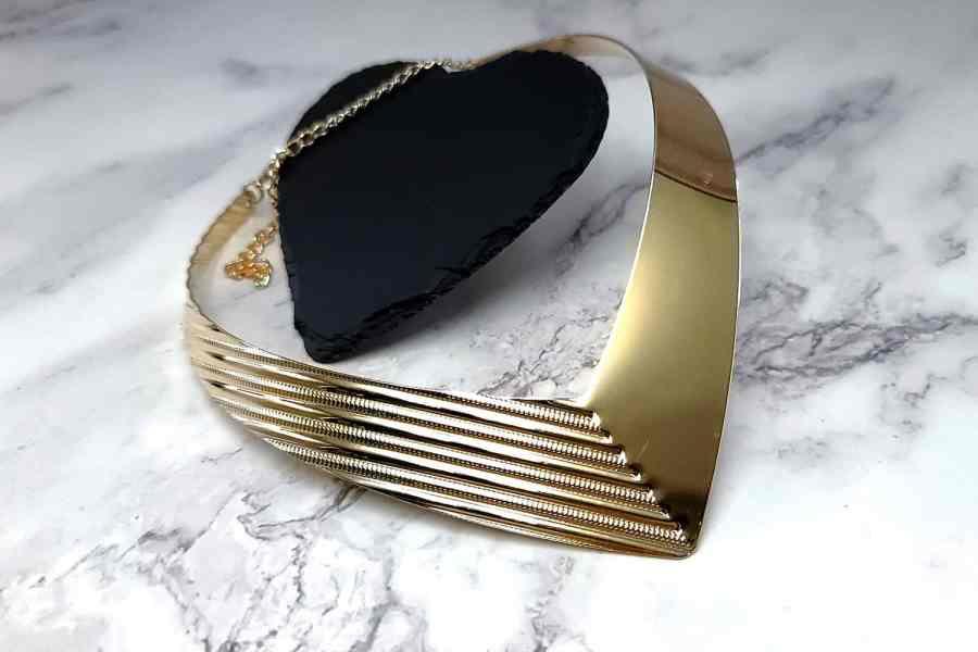 V Shape Golden color metal base necklace 4