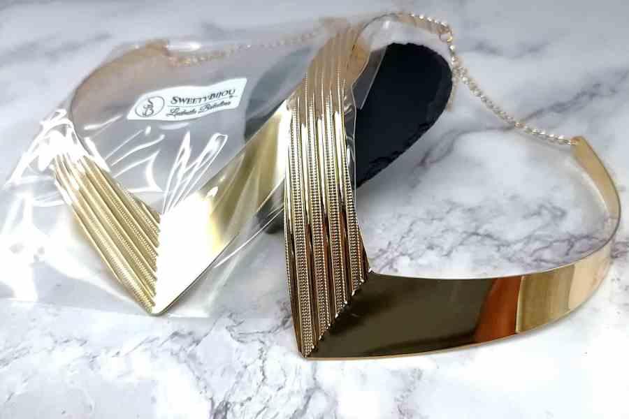 V Shape Golden color metal base necklace 9
