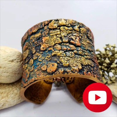 Polymer clay bracelet with tree bark texture
