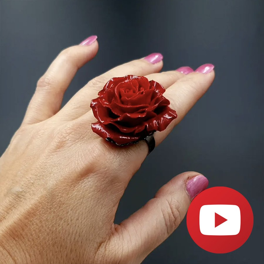 How to make a red rose ring from polymer clay