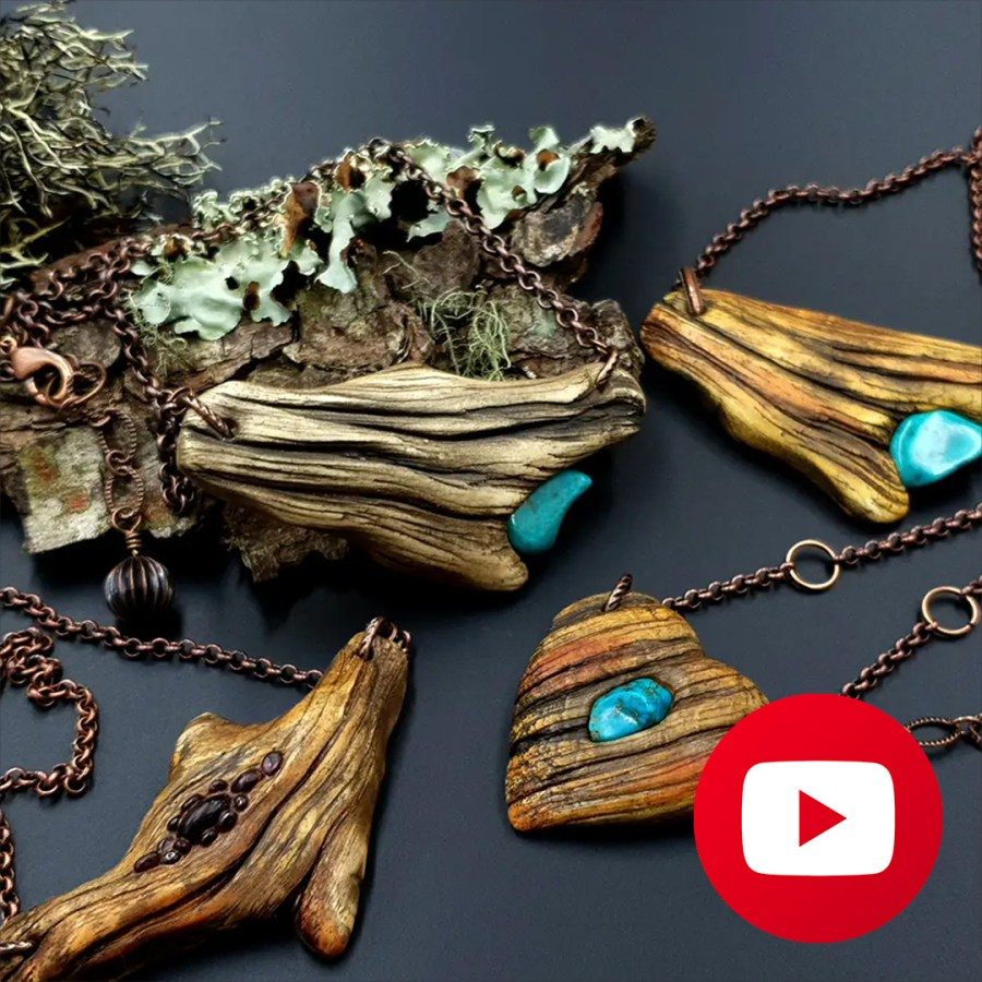 How to make polymer clay faux driftwood pendants