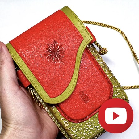 Polymer clay faux leather phone case-bag