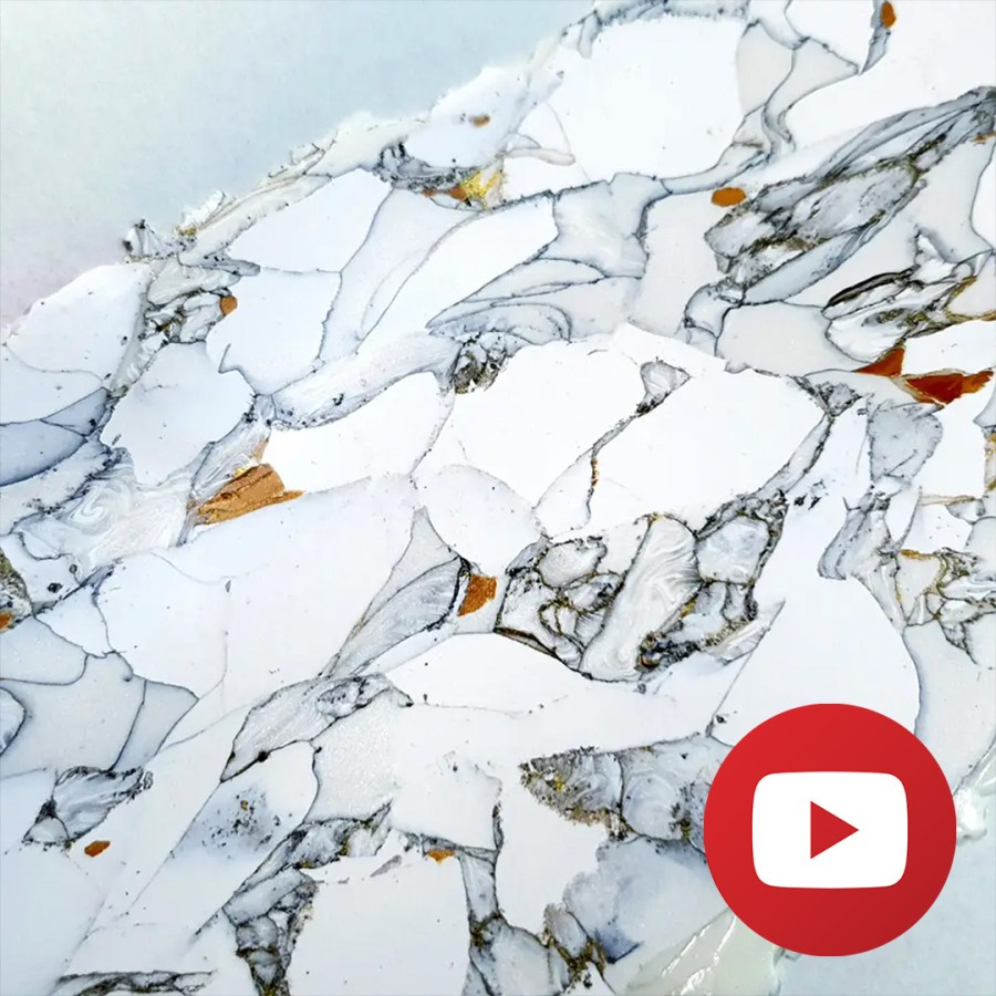 How to make realistic faux gold veins marble veneer 1