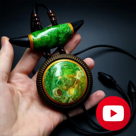 Polymer clay long pendant with acrylic pouring veneers