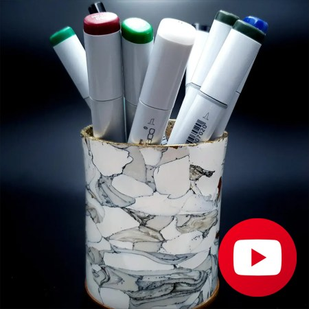 How to make polymer clay faux marble pencil holder