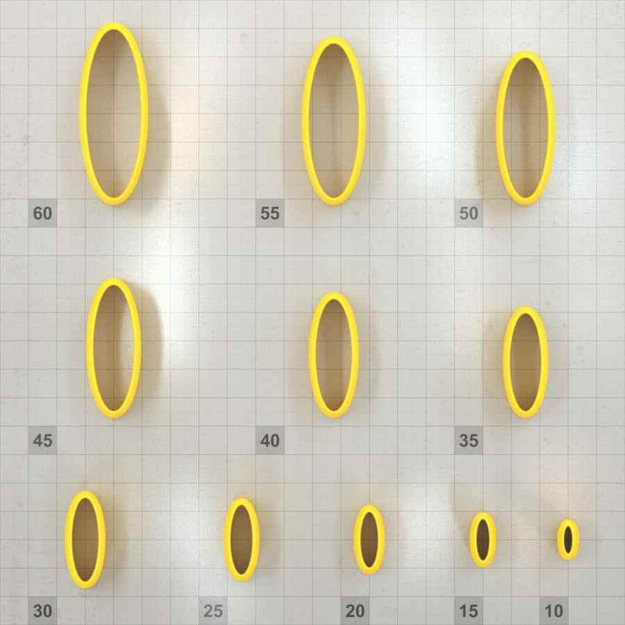 Big set of 11 plastic cutters: OVAL 6:2