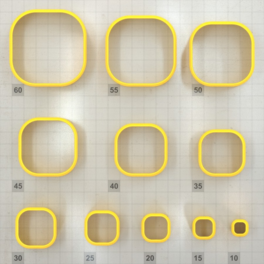 Big set of 11 plastic cutters: ROUNDED SQUARE #2