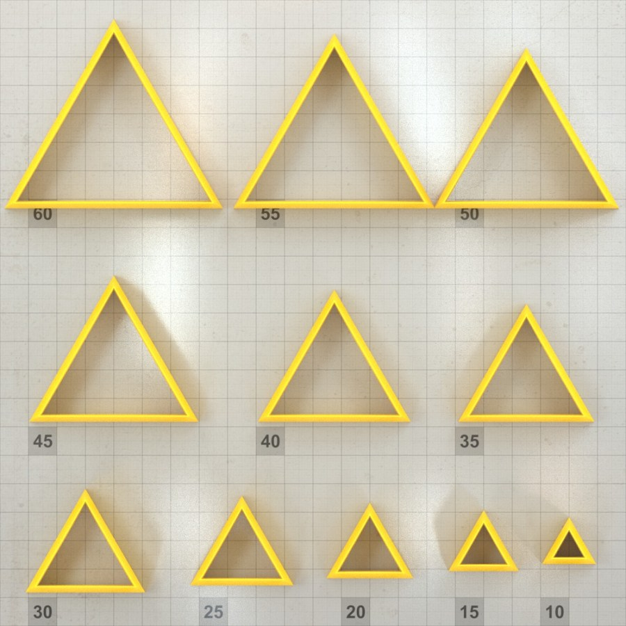 Big set of 11 plastic cutters: TRIANGLE