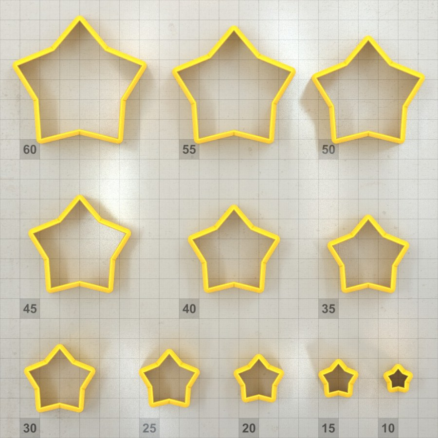 Big set of 11 plastic cutters: 5-POINTED STAR #3