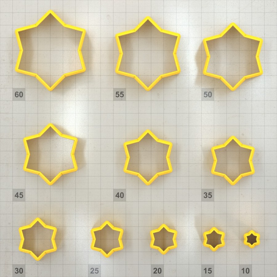 Big set of 11 plastic cutters: 6-POINTED STAR #2