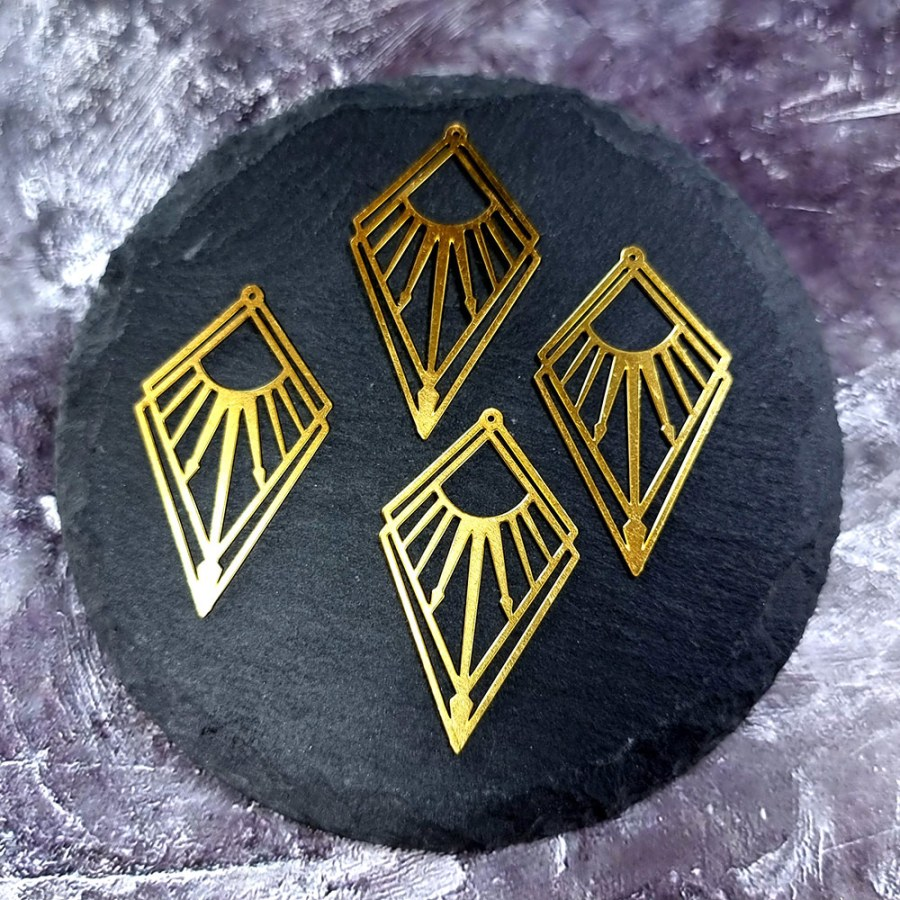 """4 Raw Brass Charms """"Arrows of the Sun"""""""
