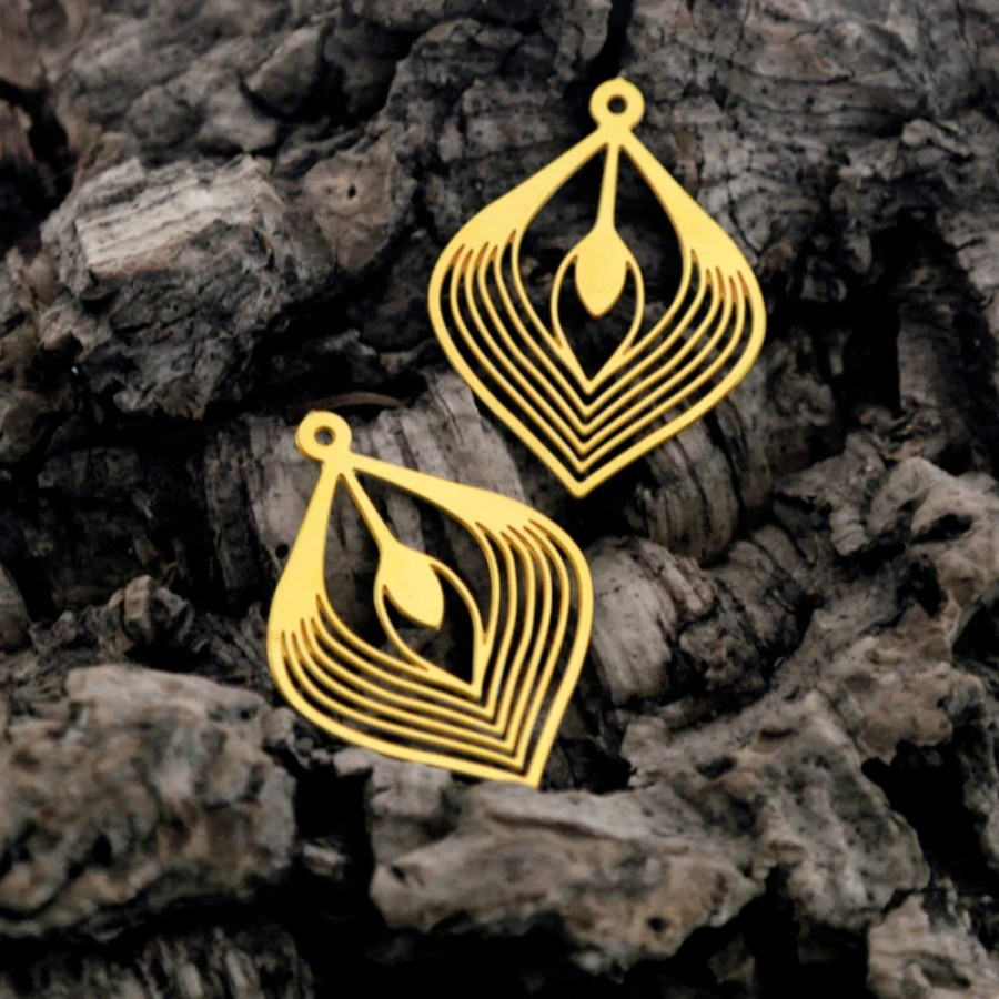"""4 Raw Brass Charms """"Golden Leaves"""""""