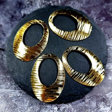"""4 Glossy Golden color Charms """"Ovals"""""""